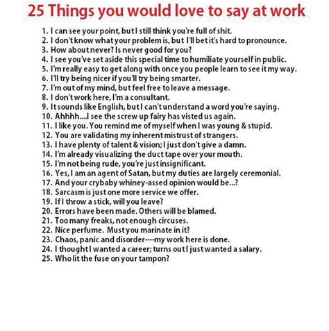 things you d to say at work bits and pieces
