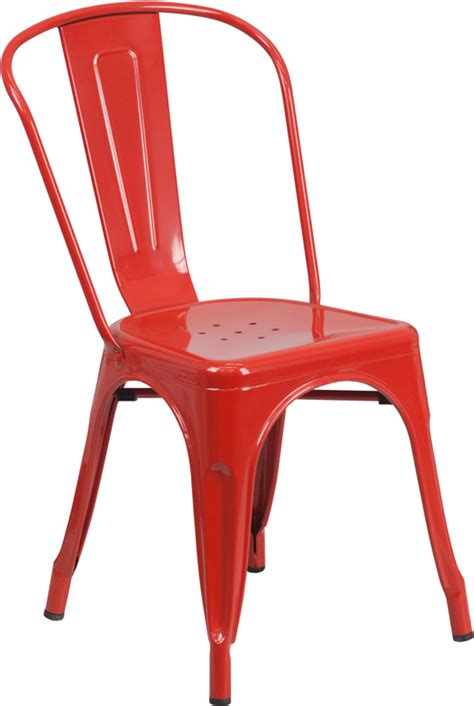 red metal outdoor chairs
