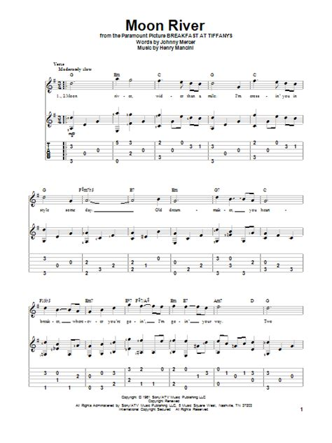 moon river guitar tab by henry mancini guitar tab 83319