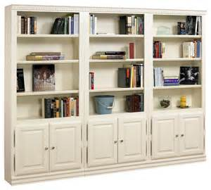 White Bookcase For Kids Room Hampton Tall 3 Pc Bookcase Wall W Doors In Pearl White