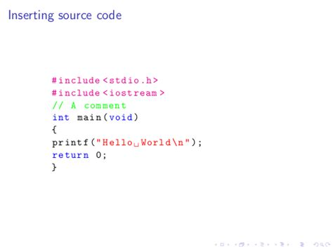 latex tutorial hello world listings how do i add syntax coloring to my c source