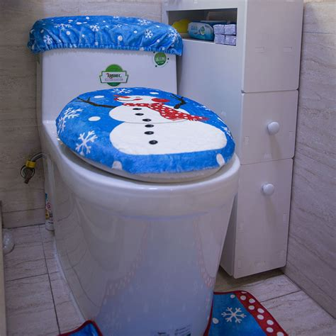 snowman bathroom decor christmas santa snowman reindeer toliet seat cover