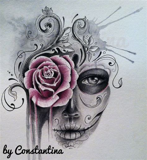 tattoos of sugar skulls and roses watercolor sugar skull artwork of constantina