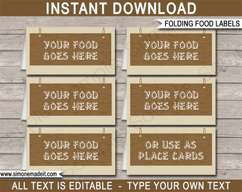 free template food cards cing food labels place cards editable template