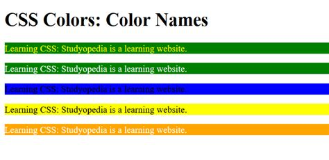 colors in css css colors studyopedia