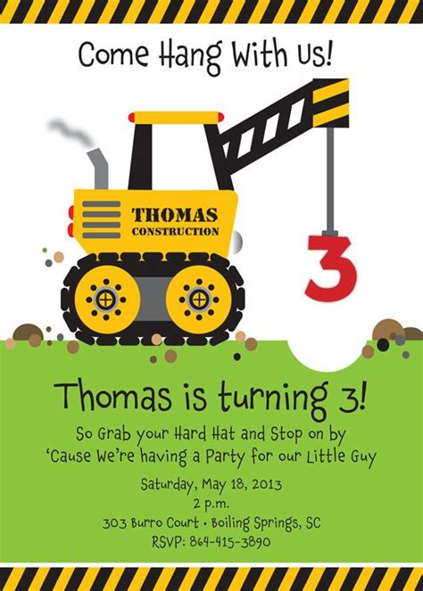 Construction Themed Birthday Card Template by 25 Best Ideas About Construction Invitations On