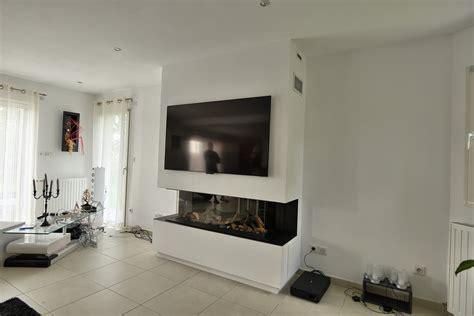 feu de cheminee sur tv chemin 233 e gaz panoramique avec habillage 233 cran tv bourg
