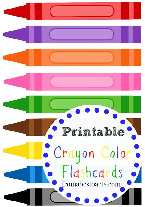 teaching colors to toddlers printable crayon color flashcards school preschool