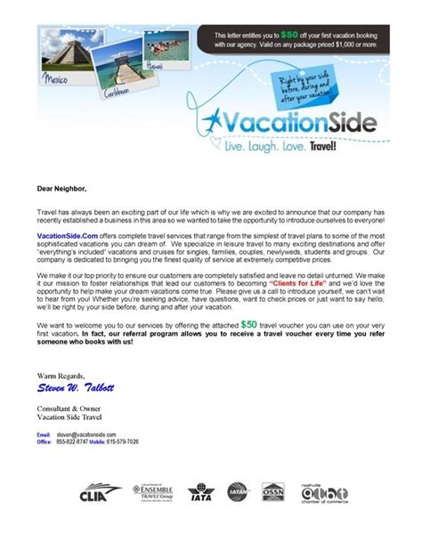 Letter Of Travel Agency Vacation Side Travel Welcome Letter Promotional Flyers Welcome Letters