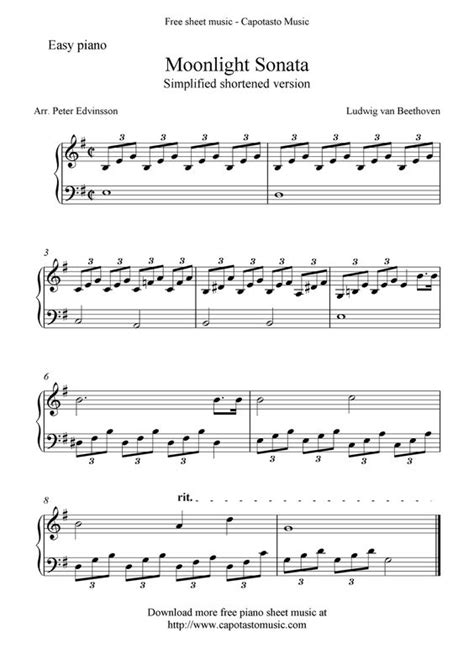 moonlight sonata easy to read piano tab method books piano sheet for beginners free sheet scores