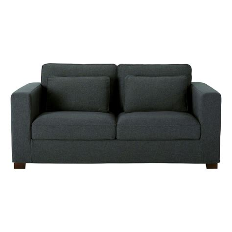 fabric 3 seater sofa charcoal grey maisons du monde