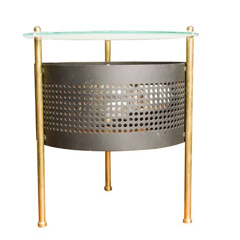 Punched Metal Table L by Glass And Perforated Metal 3 Leg Table L At 1stdibs