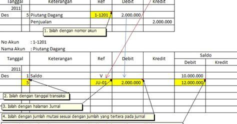format posting buku besar akuntansi smk n 1 negara posting jurnal umum ke buku besar