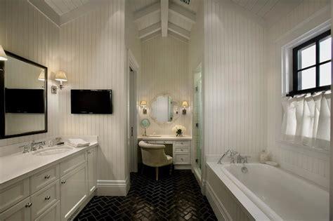 Window Treatment Ideas For Bathrooms Black Herringbone Tile Transitional Bathroom Vallone