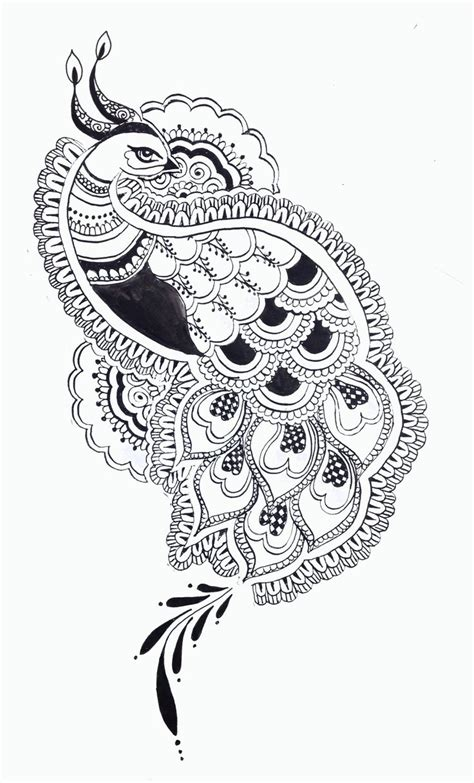 pattern drawing indian black and white peacock design google search indian