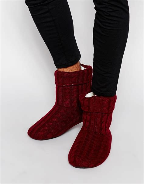cable knit boots asos slipper boots in burgundy cable knit with warm lining
