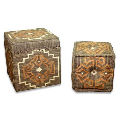 Lyons Bend Rustic Brown Orange Kilim Storage Ottoman Rustic Storage Ottoman