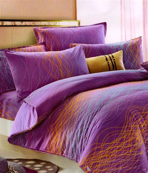 bed sheets and pillow covers solitaire purple printed cotton double bed sheet with 2