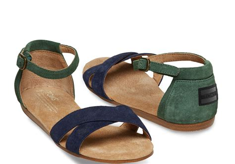 toms sandals toms suede womens correa sandals in blue navy and green