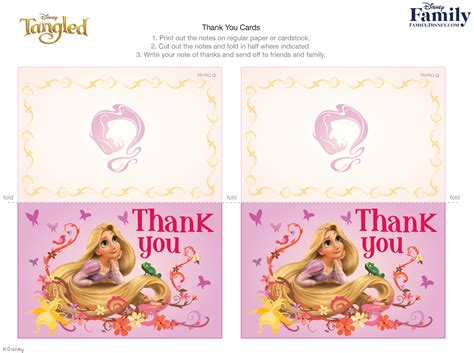 printable disney cards tangled thank you cards disney family