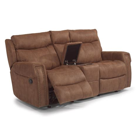 Flexsteel Reclining Loveseat With Console by Flexsteel 1450 604 Wyatt Fabric Gliding Reclining Loveseat