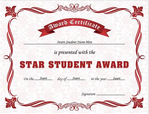 star student award certificates for ms word professional