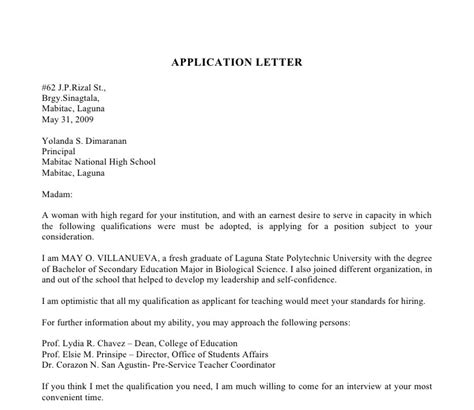 Business Application Letter For Ojt sle of application letter for ojt business