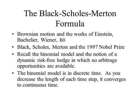 black scholes pricing model option pricing models the black scholes merton model aka