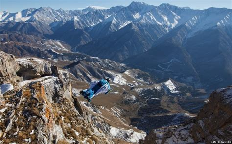 russian mountain daredevil jumps from dangerous russian mountains
