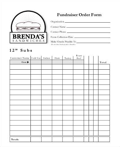 free printable order forms fundraisers sle printable order forms 8 free documents in pdf