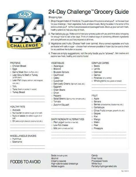 24 day challenge meal guide 24 day challenge grocery list grocery list template