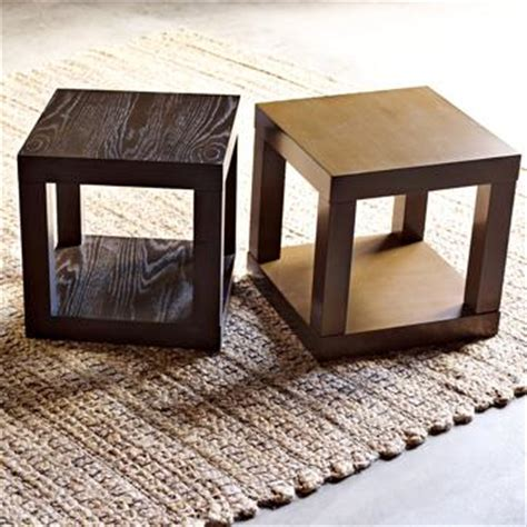 cube side tables brown parsons cube side table