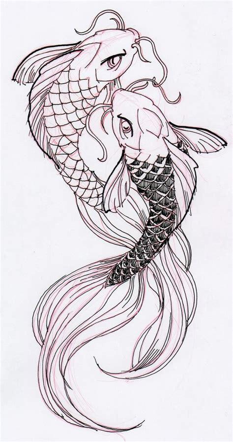 koi fish tattoo sketch two cool koi fish ink drawing stuff for school
