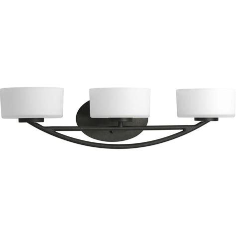 Progress Lighting Calven Collection 3 Light Forged Black Black Bathroom Light