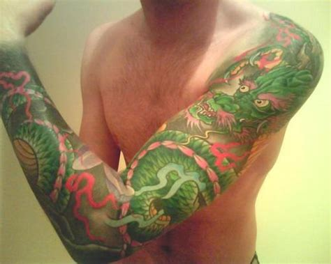 green dragon full sleeve tattoo