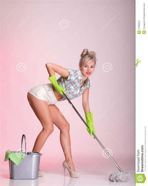 Room Design App Free pinup girl woman housewife cleaner portrait stock