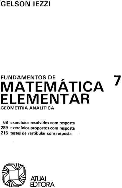 Volume 7 - Geometria Analítica • FUVESTIBULAR