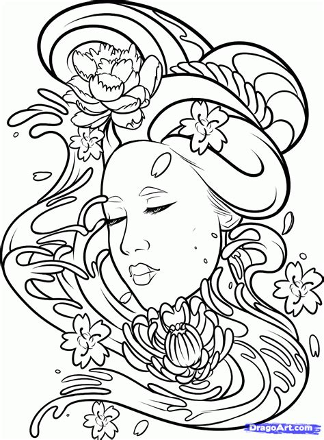 How To Draw A Geisha Tattoo Step By Step Tattoos Pop Culture Free Online Drawing Tutorial Drawing Pages