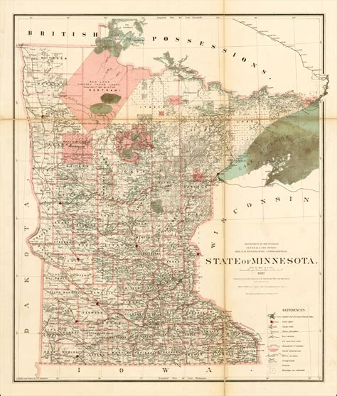 State Of Mn Records State Of Minnesota 1887 Compiled From The Official Records Of The General Land
