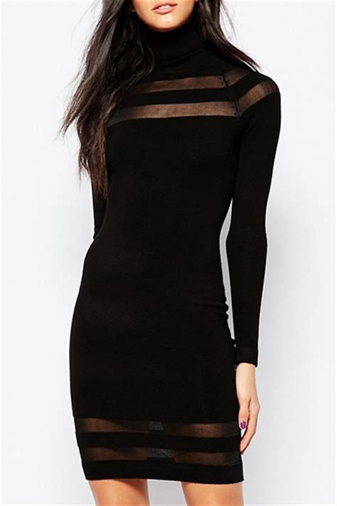 Turtle Stripe Dress see through stripe spliced turtle neck dress