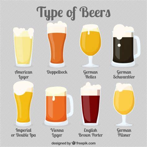 tipi di bicchieri diversi tipi di bicchieri di birra scaricare vettori gratis