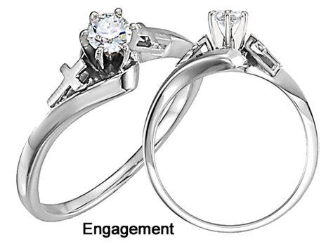 religious diamond cross engagement ring  white gold