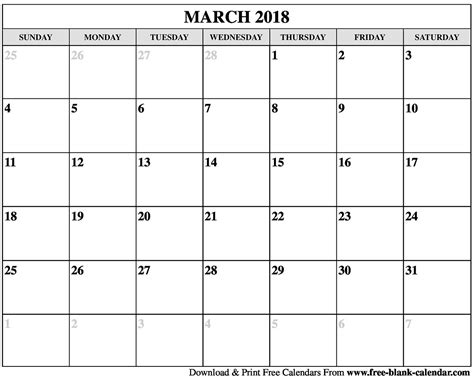 printable calendar for march 2018 blank march 2018 calendar printable