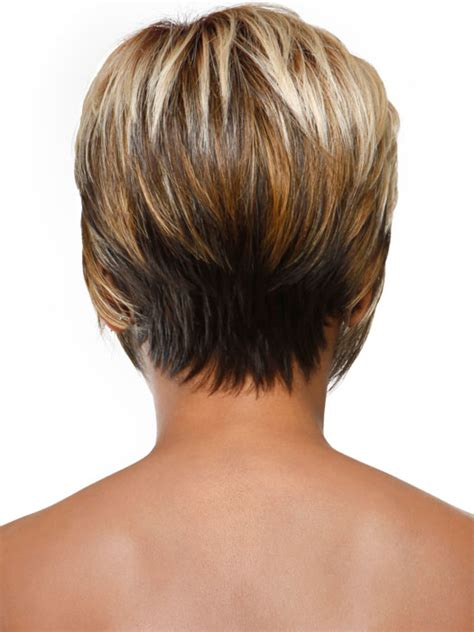 picture front and back views of the stacked bob hairstyles show short stacked wispy bob back view short hairstyle 2013