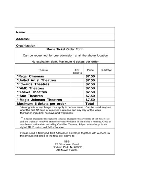 movie ticket order form free download