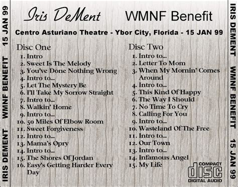 iris dement fifty of room t u b e iris dement 1999 01 15 ybor city fl fm flac