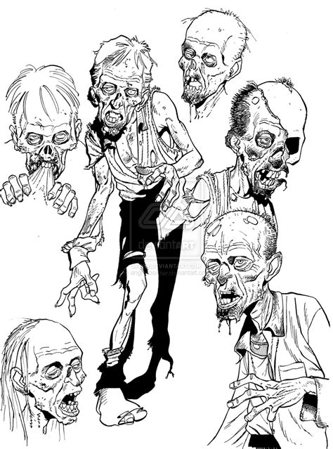 zombie coloring pages pdf zombie sketch stuff by angryrooster on deviantart