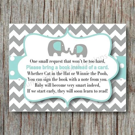 request for baby shower elephant book instead of card request insert instant