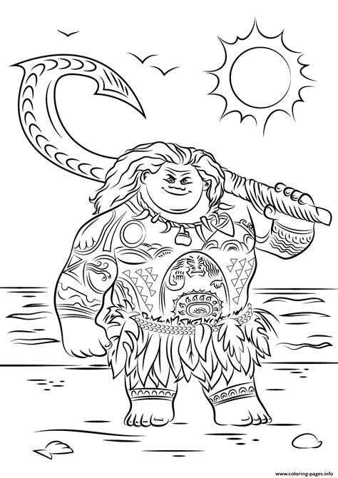 coloring pages disney moana maui from moana disney coloring pages printable