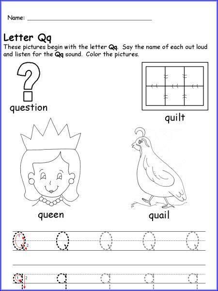 preschool printable letter q letter q worksheet for kindergarten teaching pinterest